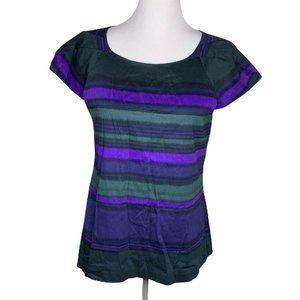 Theory Blouse Black Purple Striped Cap Sleeve L